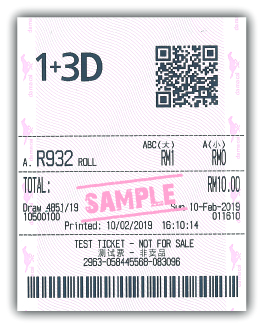 1+3D Roll Bet Sample Ticket