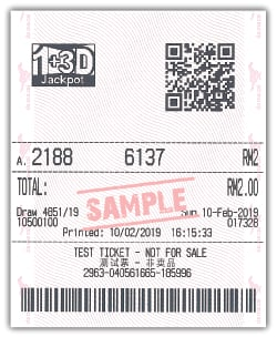 1+3D Jackpot Straight Bet Sample Ticket
